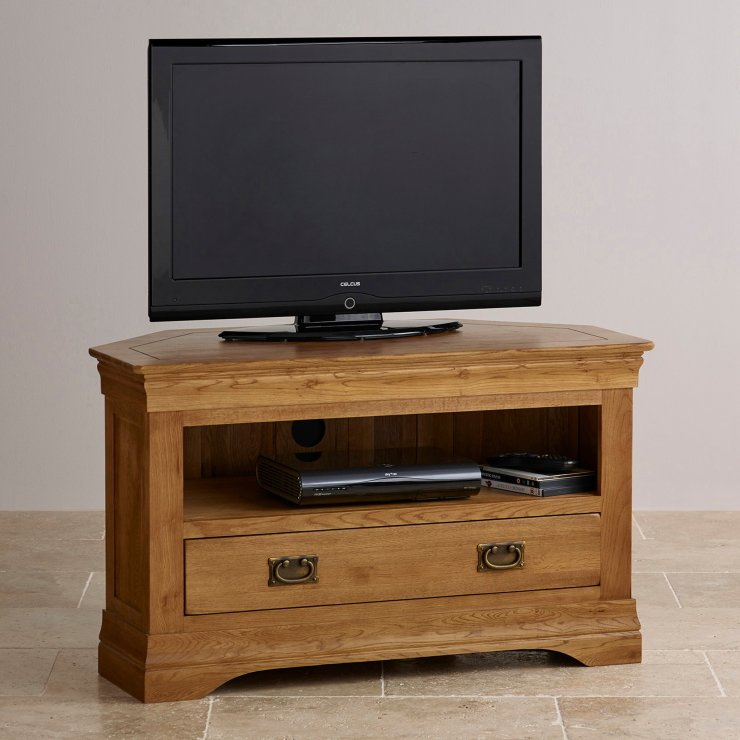 French Farmhouse Rustic Solid Oak Corner TV Cabinet