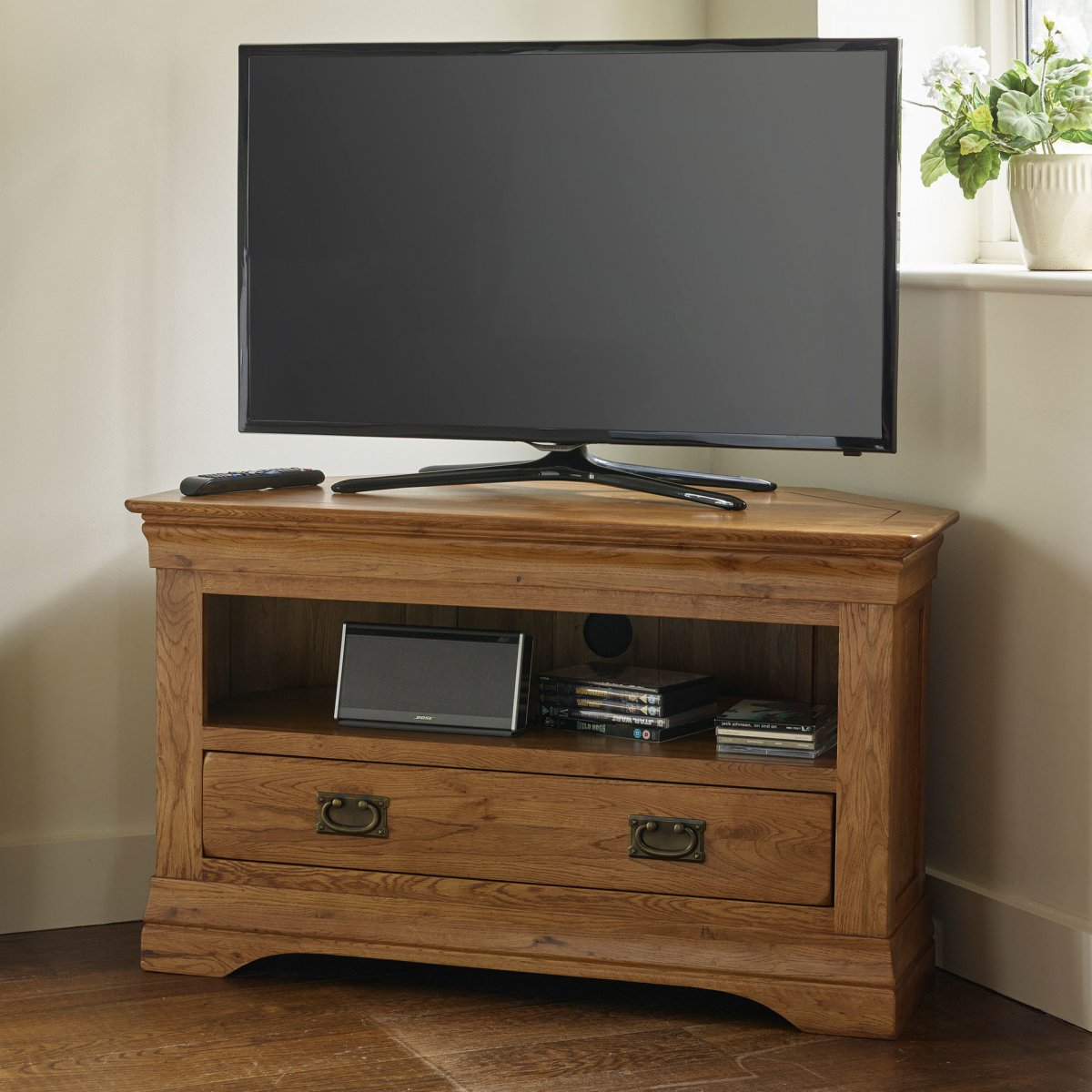french farmhouse corner tv unit solid oak oak furniture land. Black Bedroom Furniture Sets. Home Design Ideas