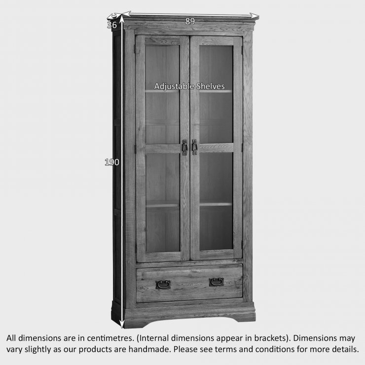 French Farmhouse Rustic Solid Oak Display Cabinet