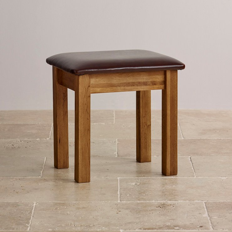French Farmhouse Rustic Solid Oak Dressing Table Stool