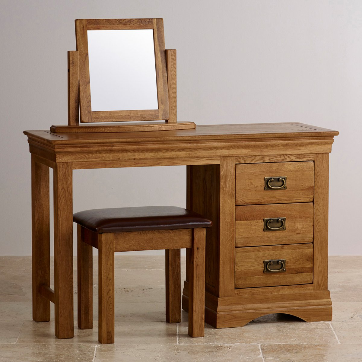 French Farmhouse Dressing Table Set in Solid Rustic Oak