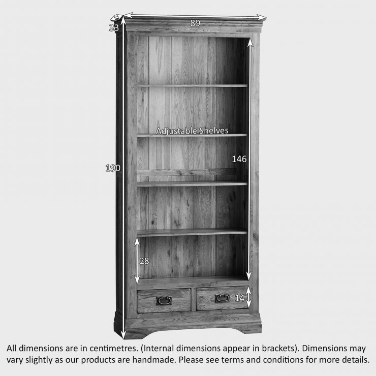 French Farmhouse Rustic Solid Oak Tall Bookcase