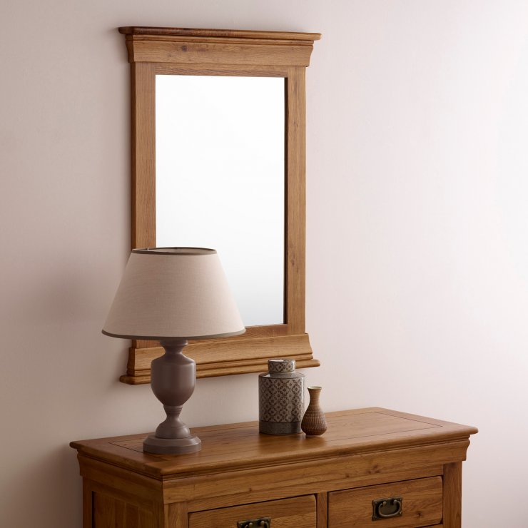 French farmhouse wall mirror in rustic oak oak furniture for Farmhouse rustic oak