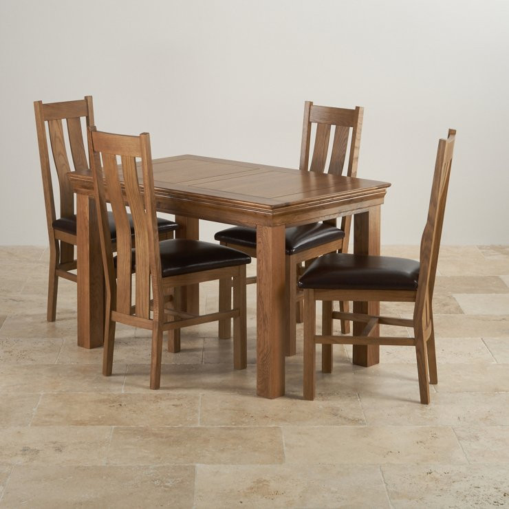 French farmhouse oak dining set 4ft table with 4 chairs for French farmhouse dining chairs