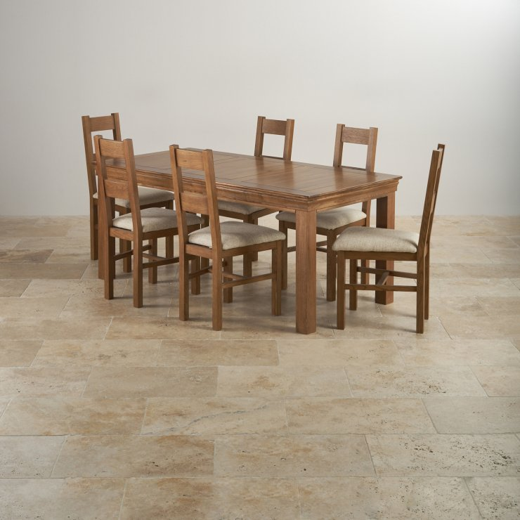 French Farmhouse Rustic Solid Oak Dining Set 6ft Table with 6 Farmhouse and