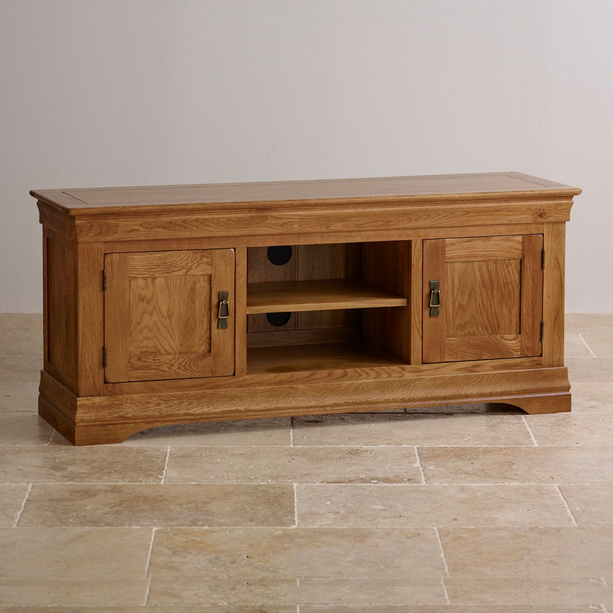 French farmhouse tv cabinet in solid oak oak furniture land for Solid oak furniture