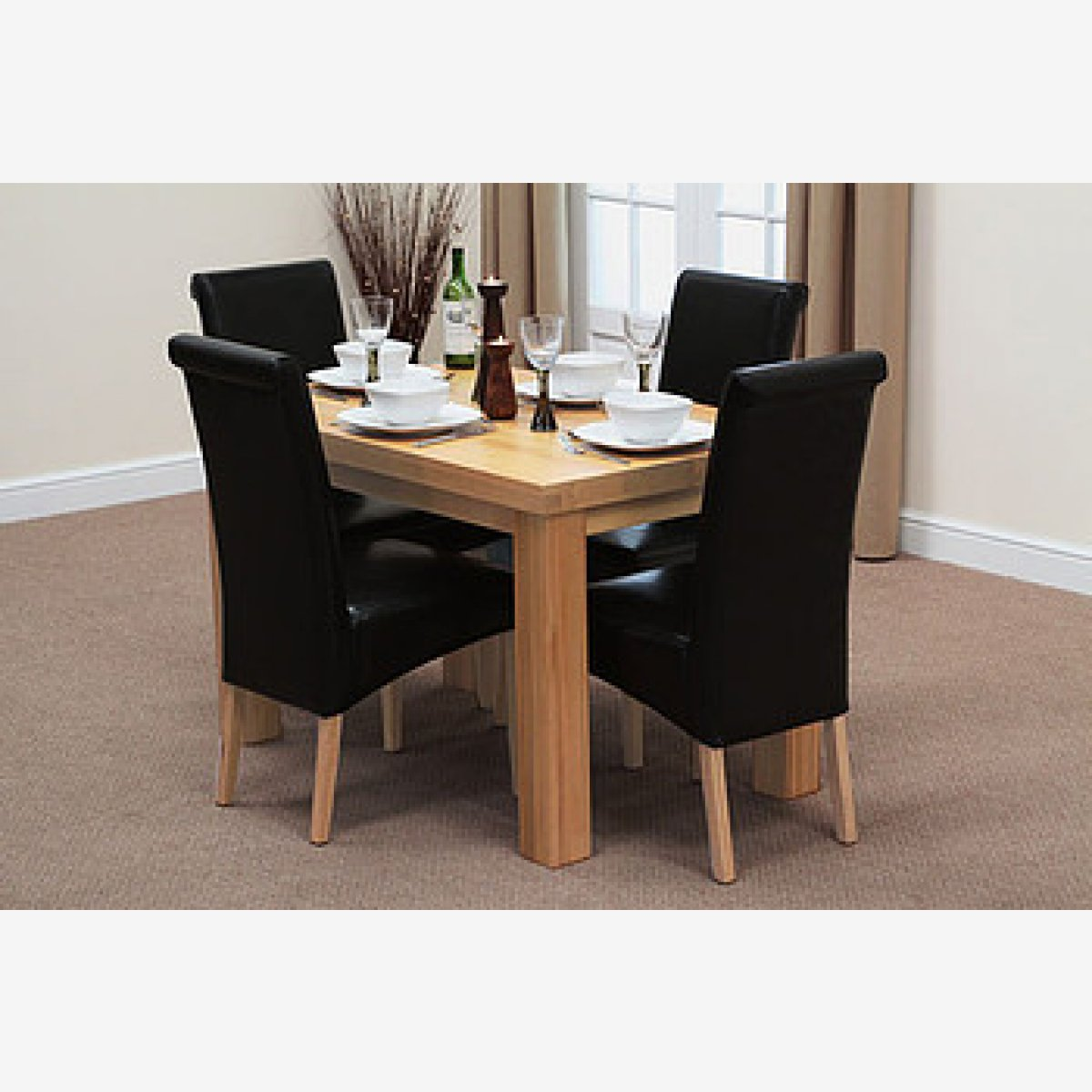 Fresco 4ft Solid Oak Dining Table + 4 Black Leather Chairs