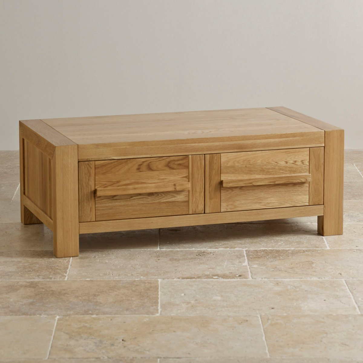 Fresco 2 drawer coffee table in solid oak oak furniture land for Solid oak furniture