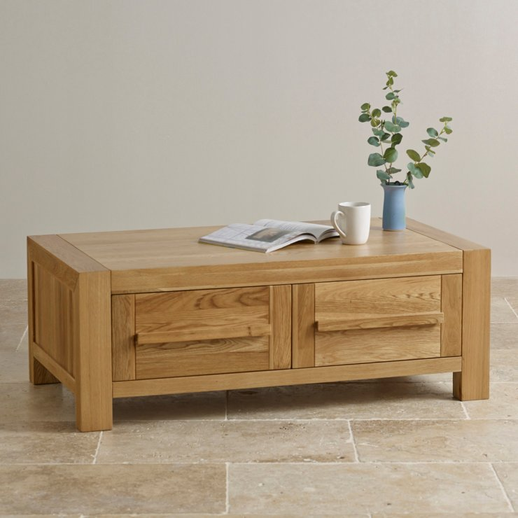 Fresco Natural Solid Oak 2 Drawer Storage Coffee Table