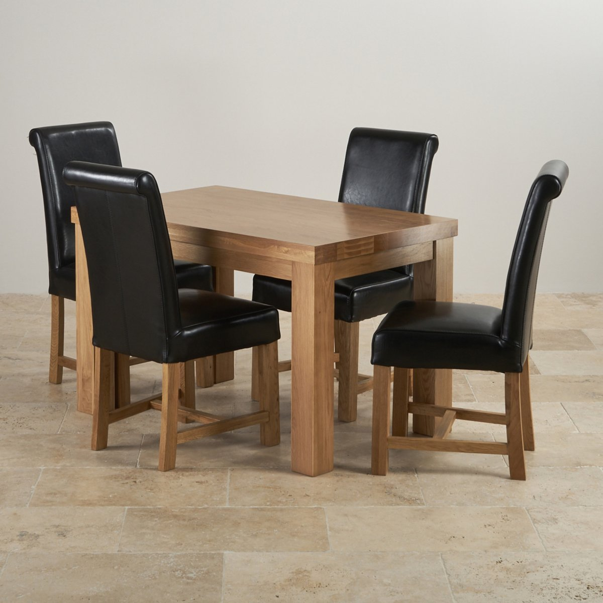 Fresco 4ft Solid Oak Dining Table 4 Black Leather Braced Chairs