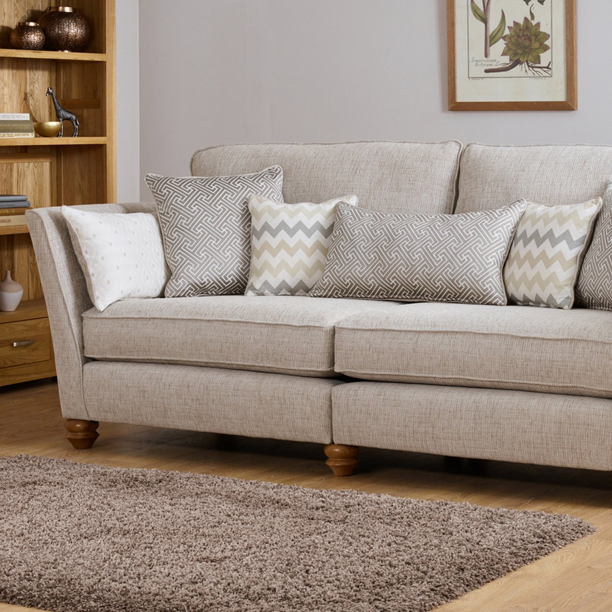 gainsborough 4 seater sofa in brown oak furniture land. Black Bedroom Furniture Sets. Home Design Ideas