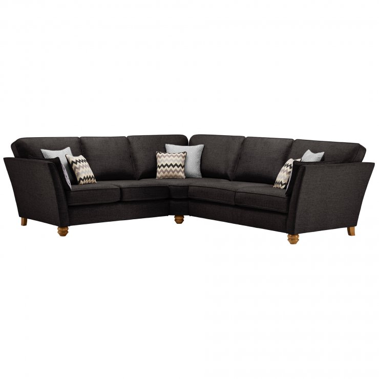 Gainsborough Large Corner Sofa in Black with Silver Scatters