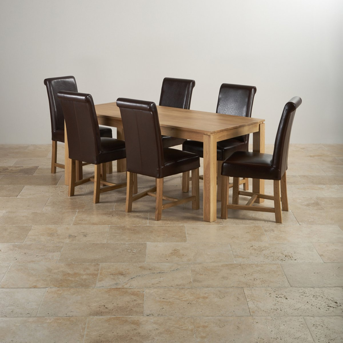 galway dining set in oak 6ft table 6 brown leather chairs. Black Bedroom Furniture Sets. Home Design Ideas