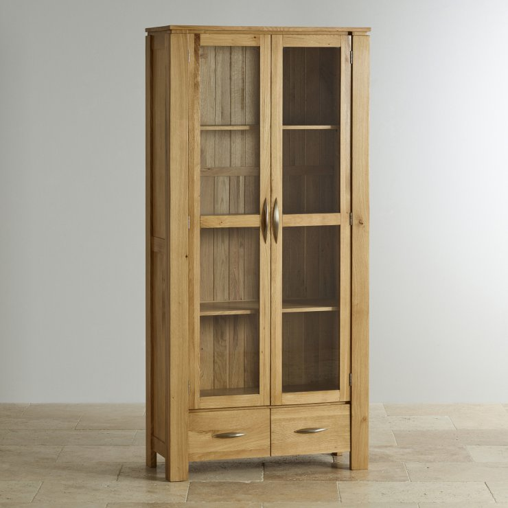 Galway Natural Solid Oak Glazed Display Cabinet
