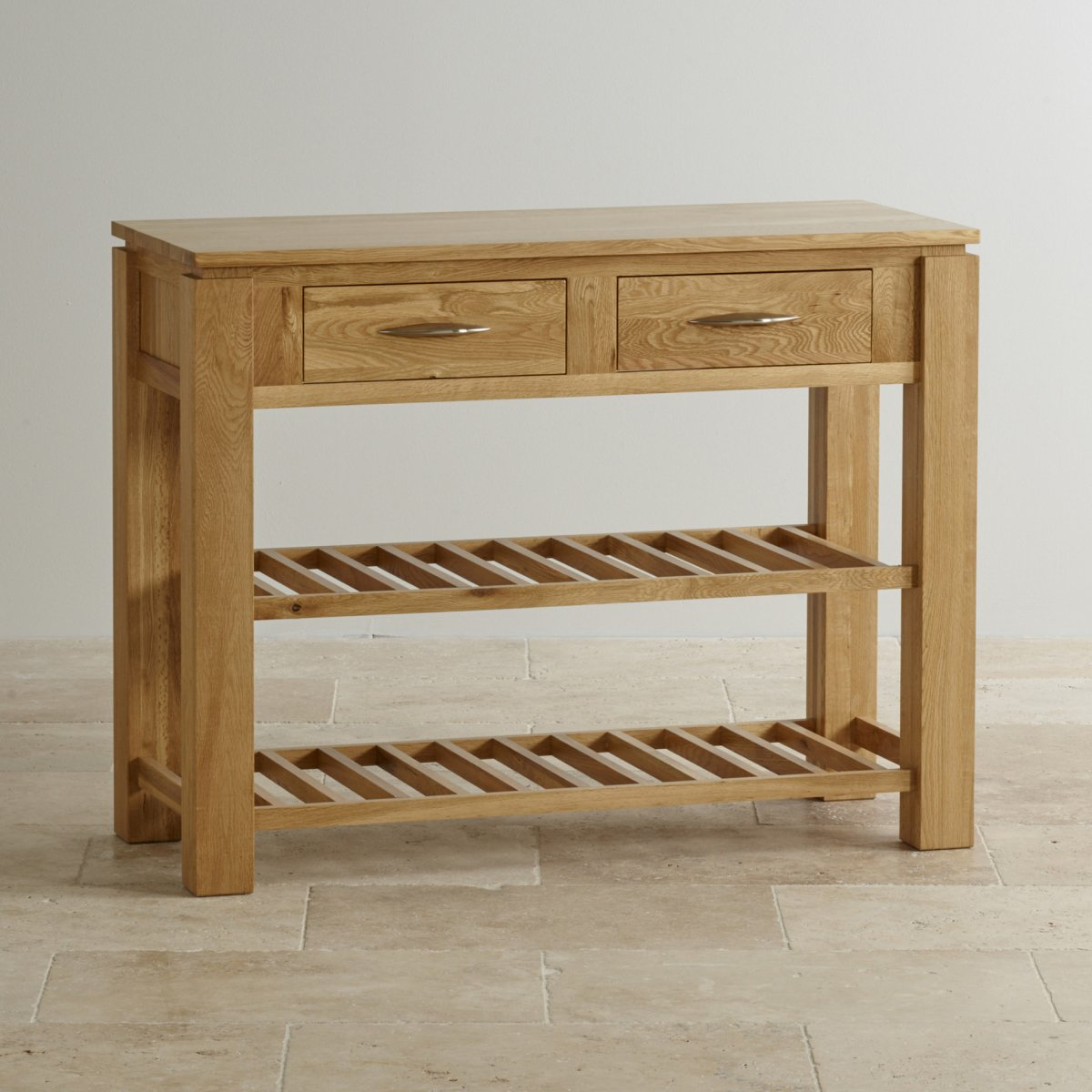 Galway natural solid oak storage console table for Solid oak furniture