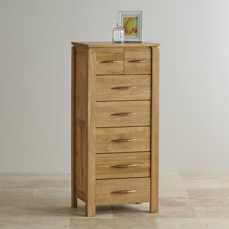 Galway Natural Solid Oak Tall 5 2 Drawer Chest