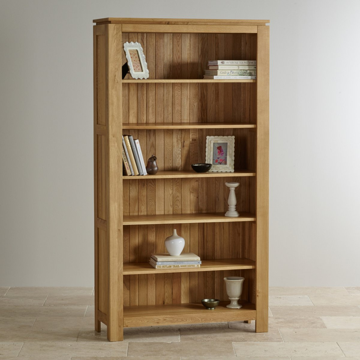 Galway natural solid oak bookcase living room furniture for Living room bookcases