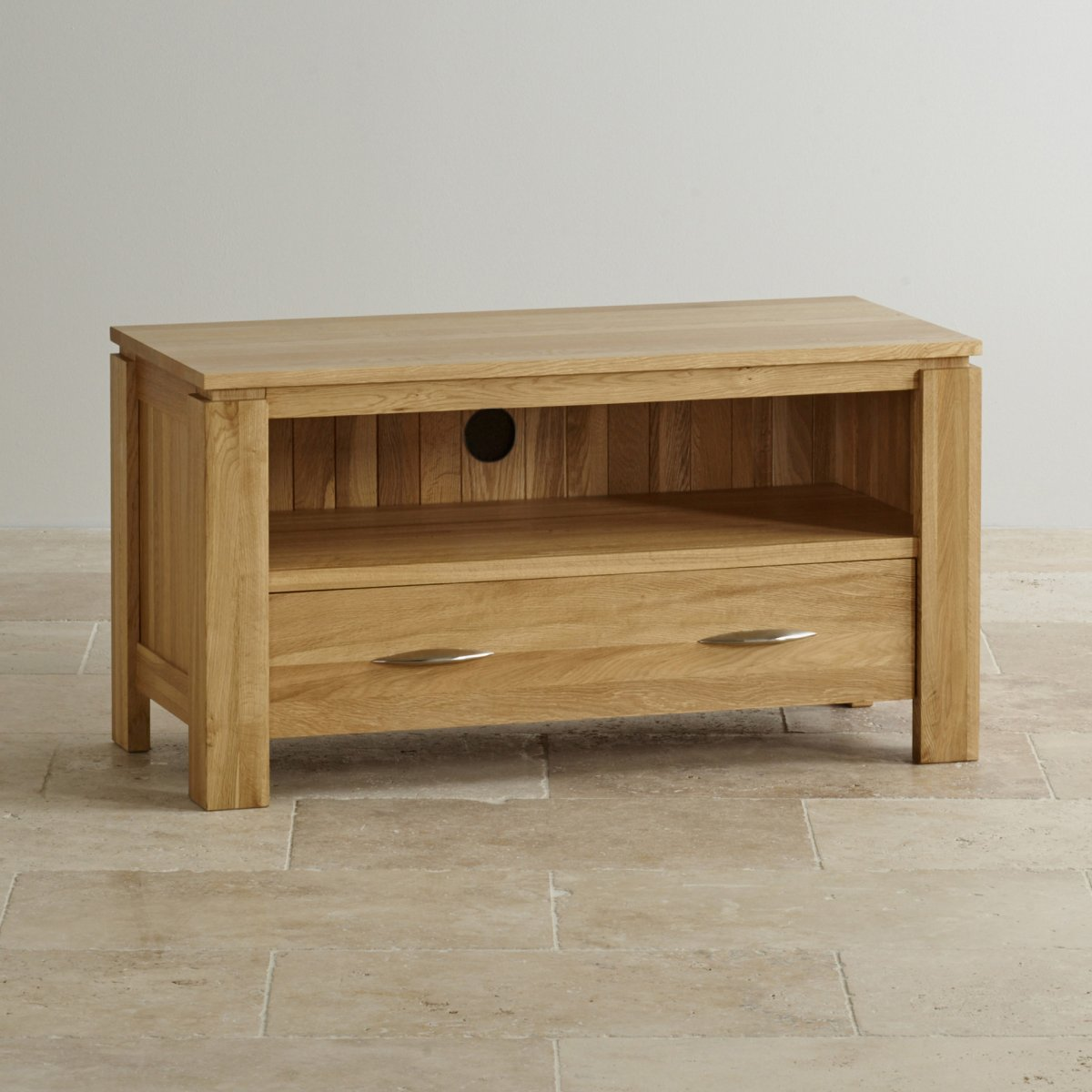 Galway natural solid oak tv dvd stand living room for Solid oak furniture