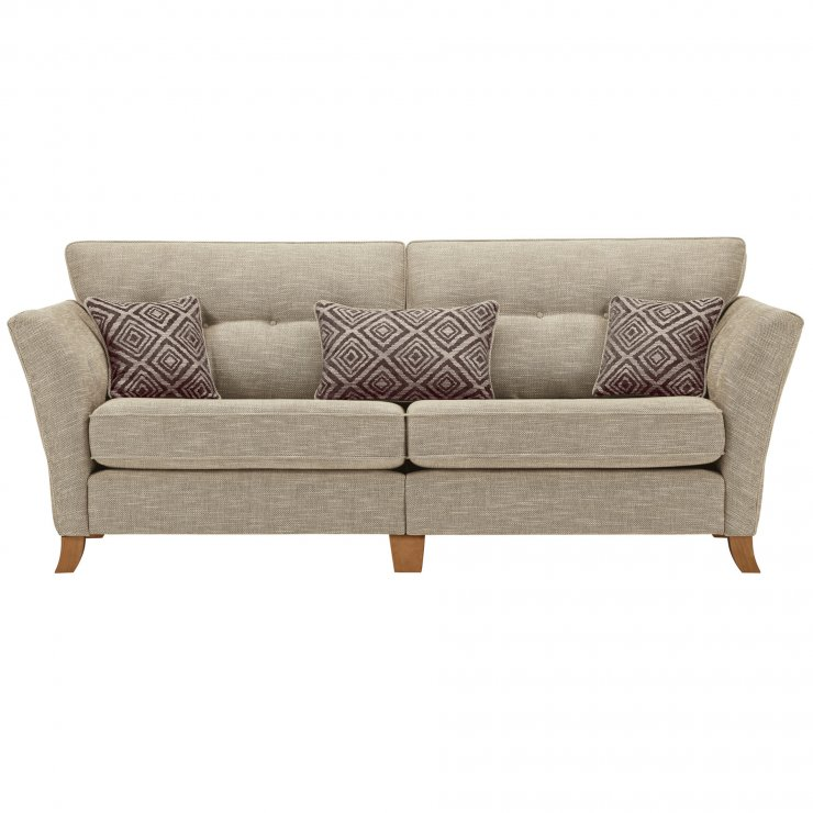 Grosvenor Traditional 4 Seater Sofa in Beige with Grey Scatters