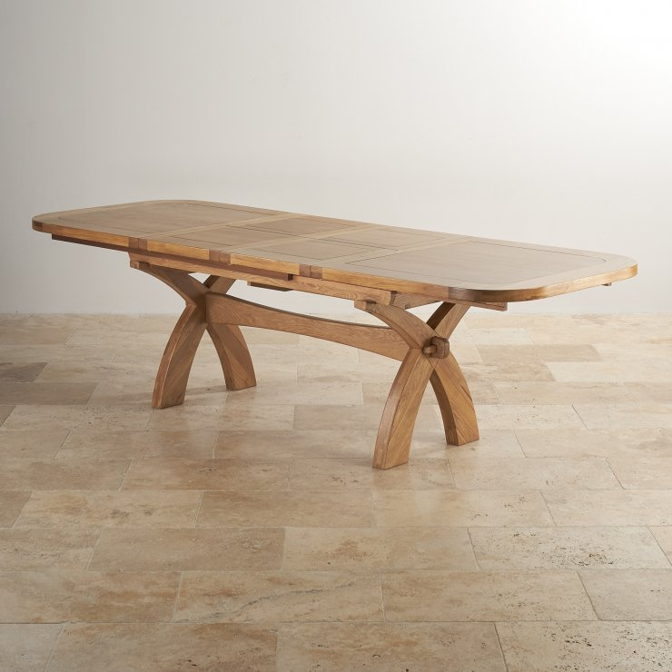 Hercules extending dining table in natural oak 10 chairs - Crossed leg dining table ...