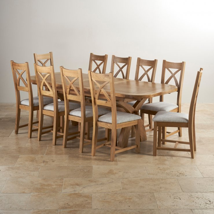Dining Table Set For 10: Hercules Extending Dining Table In Natural Oak + 10 Chairs