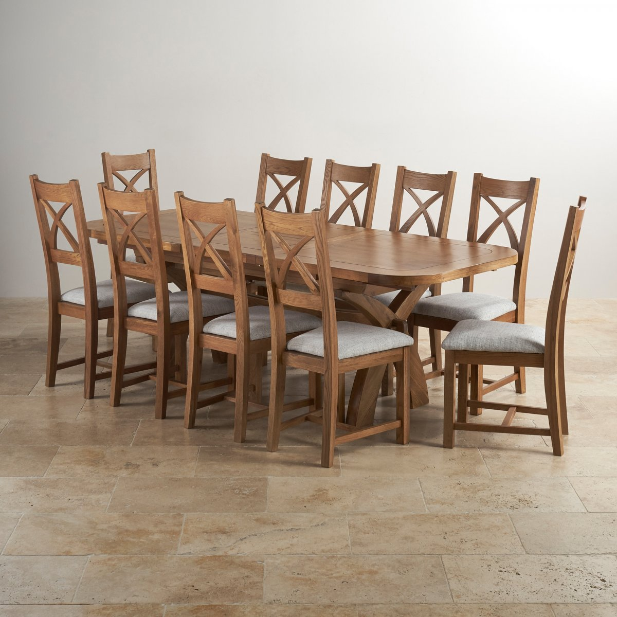 Hercules 6ft Extending Dining Set In Rustic Solid Oak 10 Cross Back Plain Grey Fabric Chairs