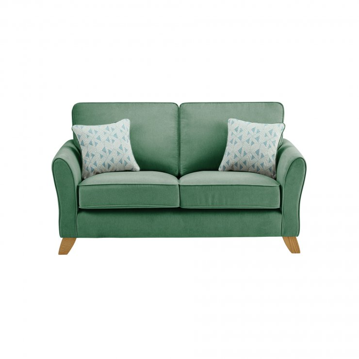 Jasmine 2 Seater Sofa In Cosmo Fabric Jade With Aqua