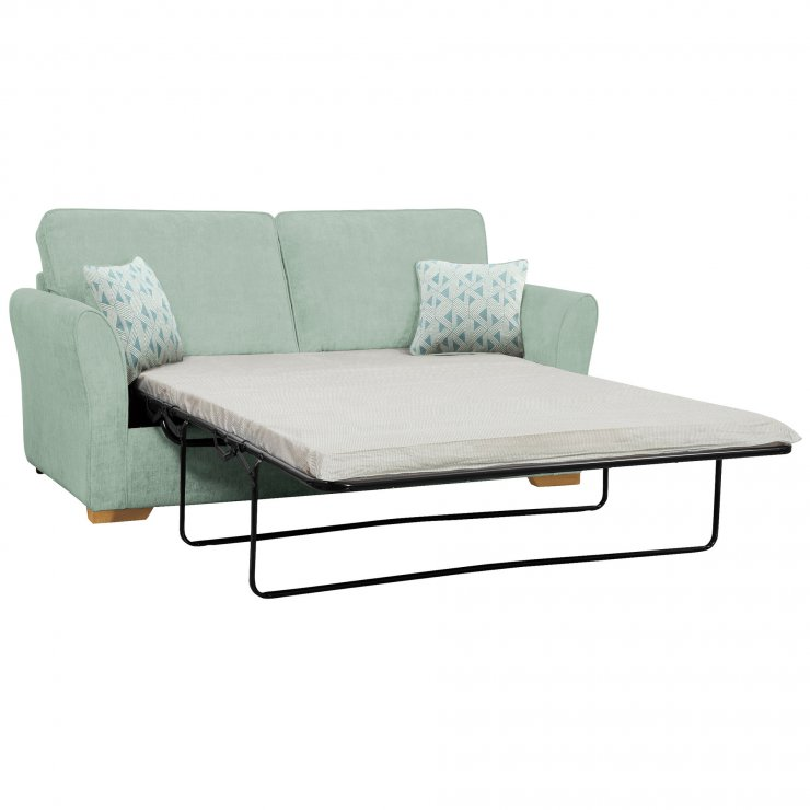 Jasmine 3 Seater Sofa Bed with Standard Mattress in Cosmo Duck Egg with Bamboo Aqua Scatters