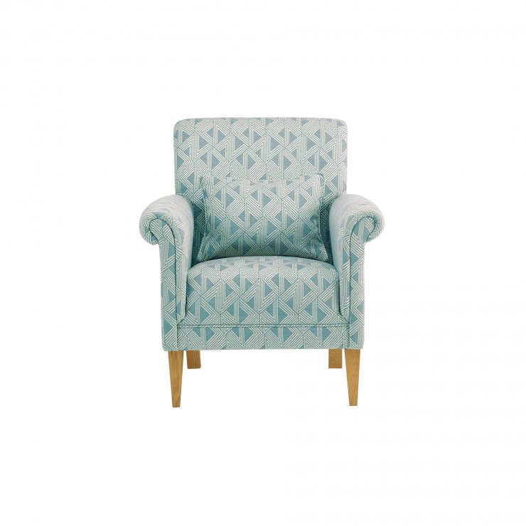 Jasmine Accent Chair In Bamboo Aqua Fabric Oak Furniture Land