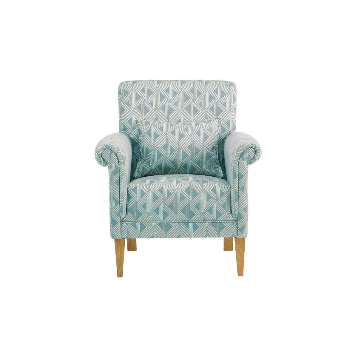 Jasmine Accent Chair In Duck Egg Bamboo Aqua Fabric