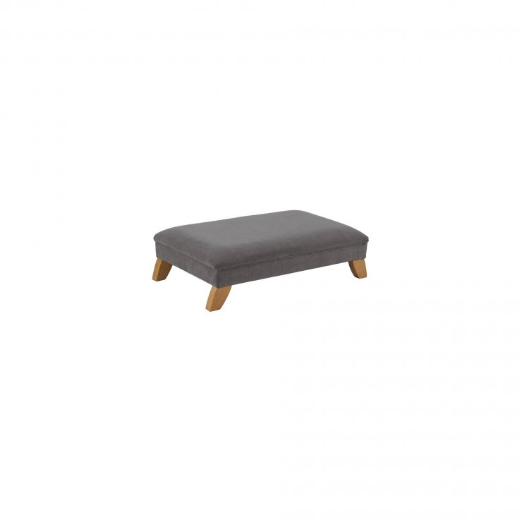 Jasmine Footstool in Cosmo Pewter Fabric