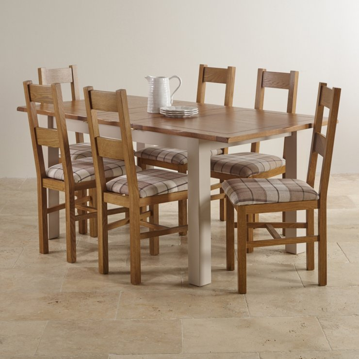 Kemble Extending Dining Set in Painted Oak Table 6 Chairs : kemble rustic solid oak and painted 4ft 7 x 3ft extending dining table with 6 farmhouse chairs 563b8a8ec834f84b8fecac3ce48c07f0a1efbc396a152 from www.oakfurnitureland.co.uk size 740 x 740 jpeg 77kB