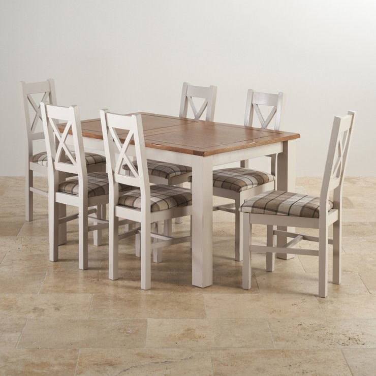 Kemble extending dining set table 6 charcoal fabric chairs for Extending dining table and chairs