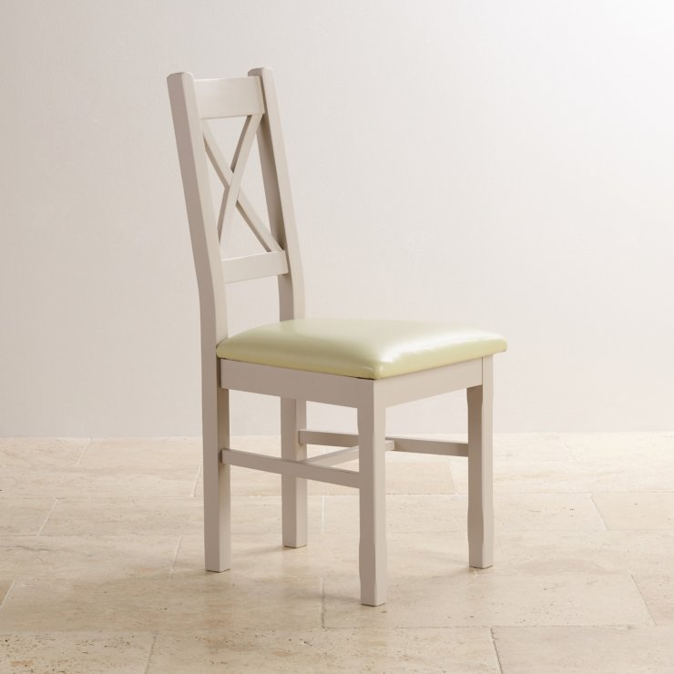 Kemble Rustic Solid Oak and Painted and Cream Leather Dining Chair