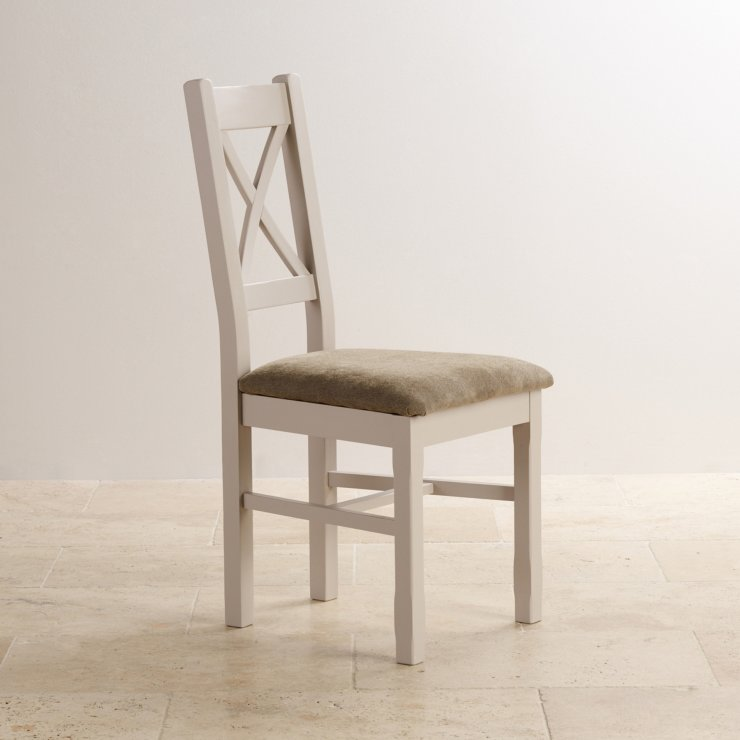 Kemble Rustic Solid Oak and Painted and Plain Sage Fabric Dining Chair