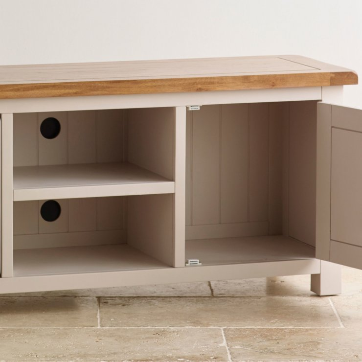 Kemble Rustic Solid Oak and Painted Widescreen TV Cabinet