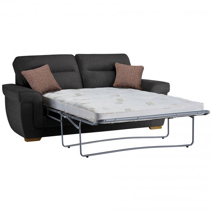 Kirby 3 Seater Sofa Bed with Deluxe Mattress in Barley Graphite