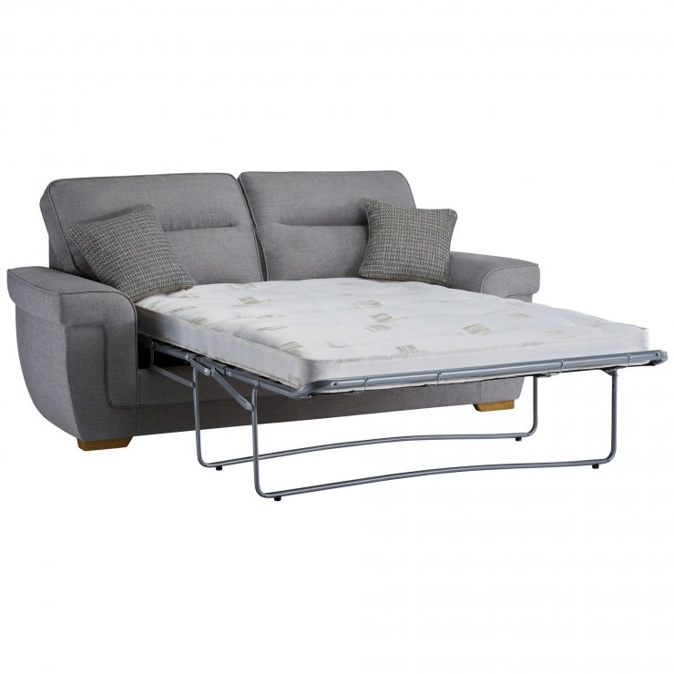 Kirby 3 Seater Sofa Bed with Deluxe Mattress in Barley Silver