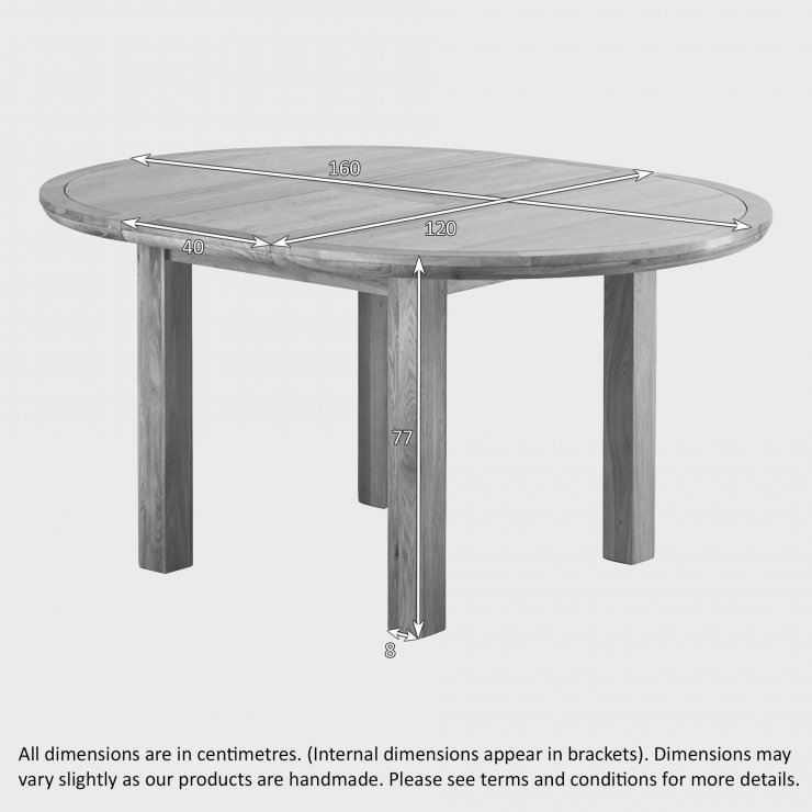 Knightsbridge 4ft Natural Real Oak Round Extending Dining Table