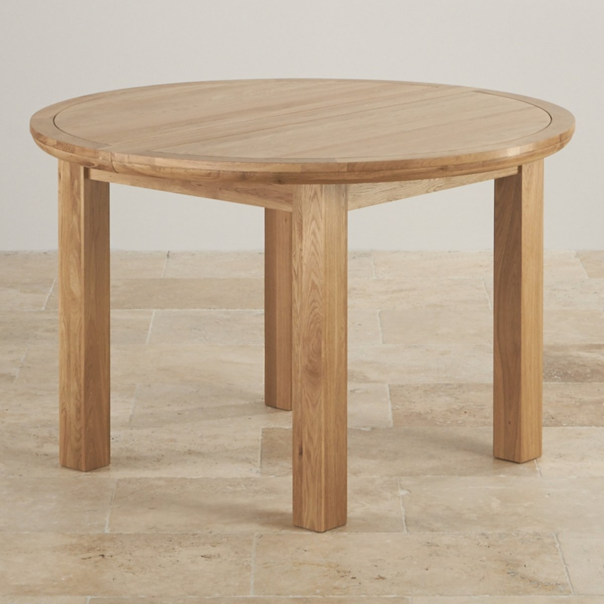 knightsbridge 4ft extending round dining table in natural oak. Black Bedroom Furniture Sets. Home Design Ideas