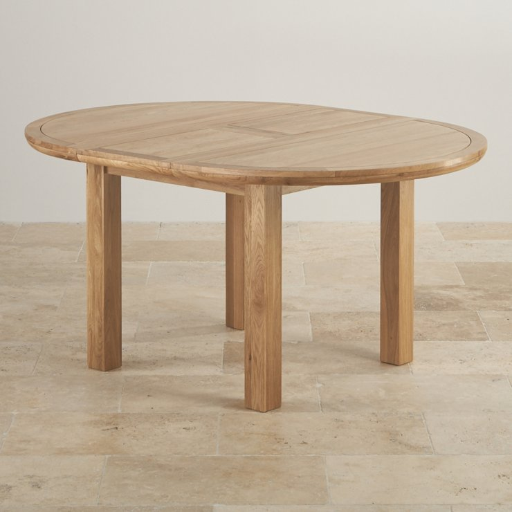 knightsbridge 4ft extending round dining table in natural real oak