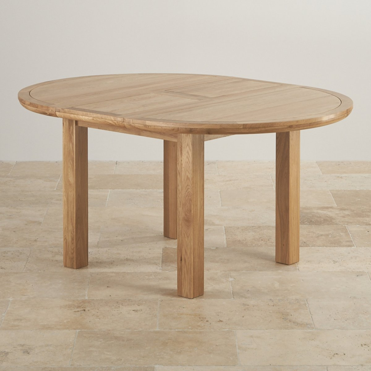 Knightsbridge 4ft extending round dining table in natural oak - Round extending dining table ...
