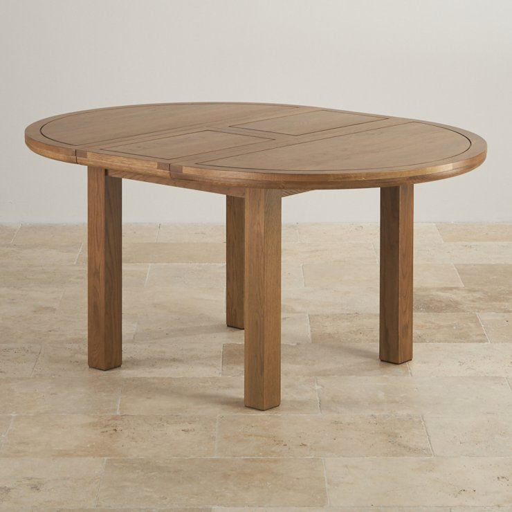 Knightsbridge 4ft Rustic Real Oak Round Extending Dining Table