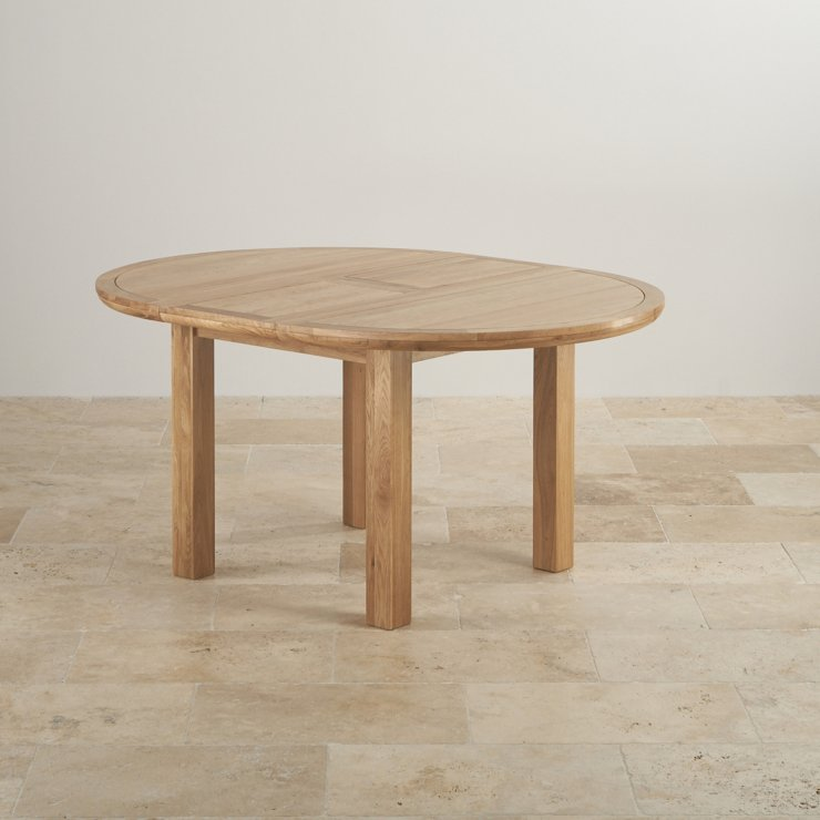 Knightsbridge Natural Real Oak 4ft Round Extending Table with 4 Scroll Back Brown Leather Chairs