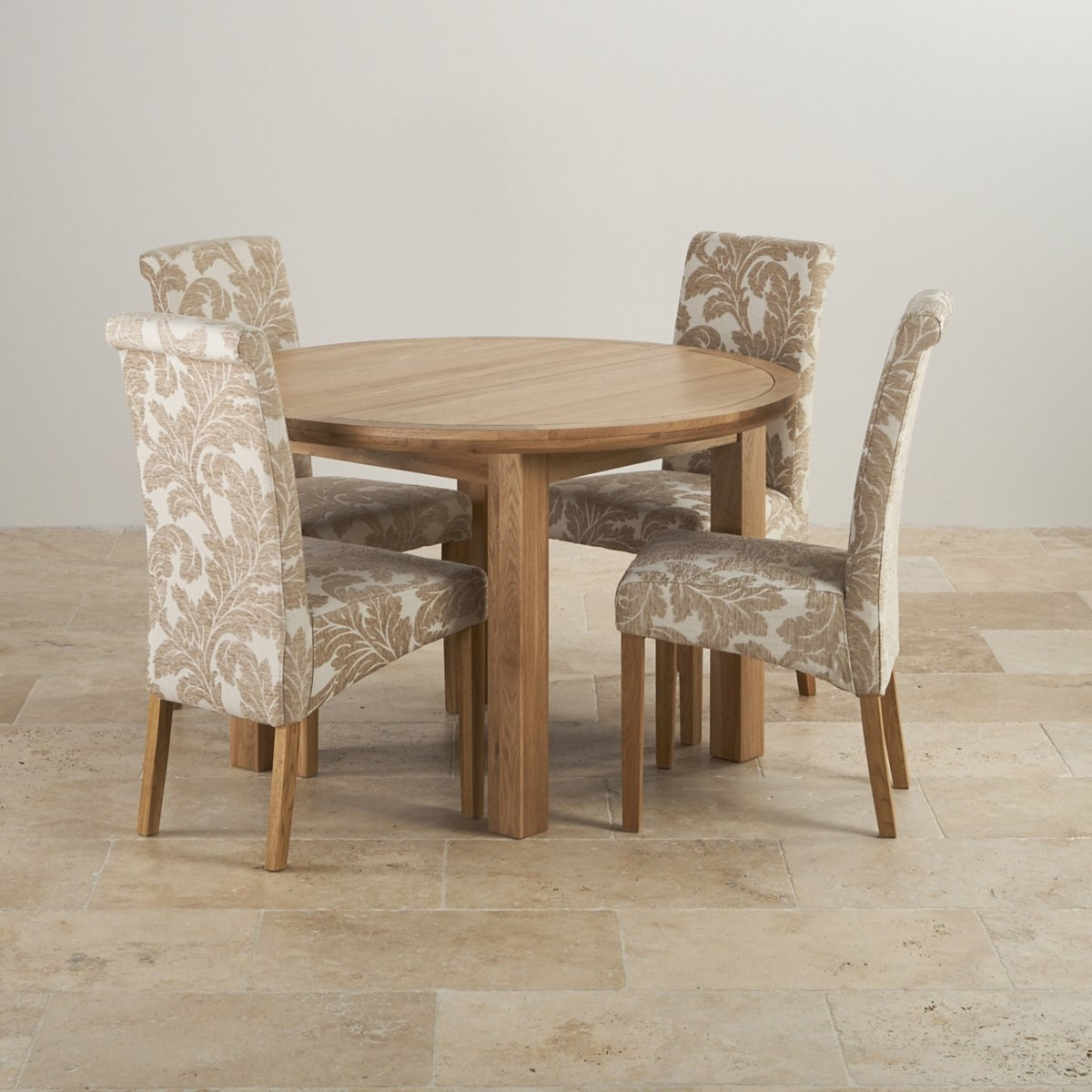 Knightsbridge Dining Set In Oak Round Extending Table 4 Chairs