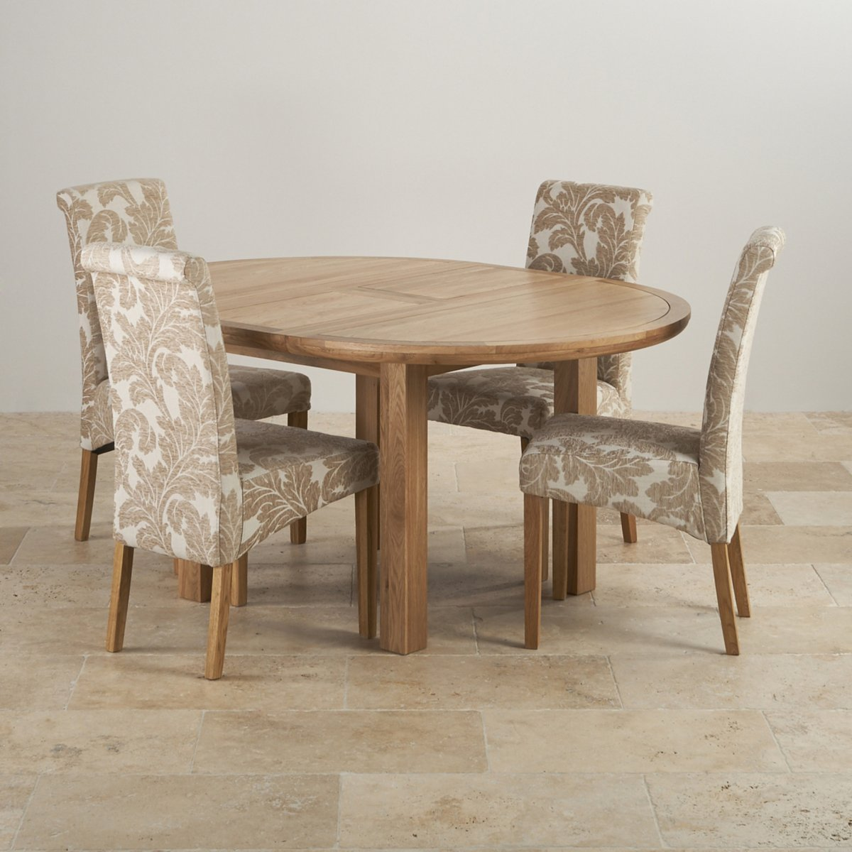 Knightsbridge Oak Dining Set Round Extending Table 4 Chairs