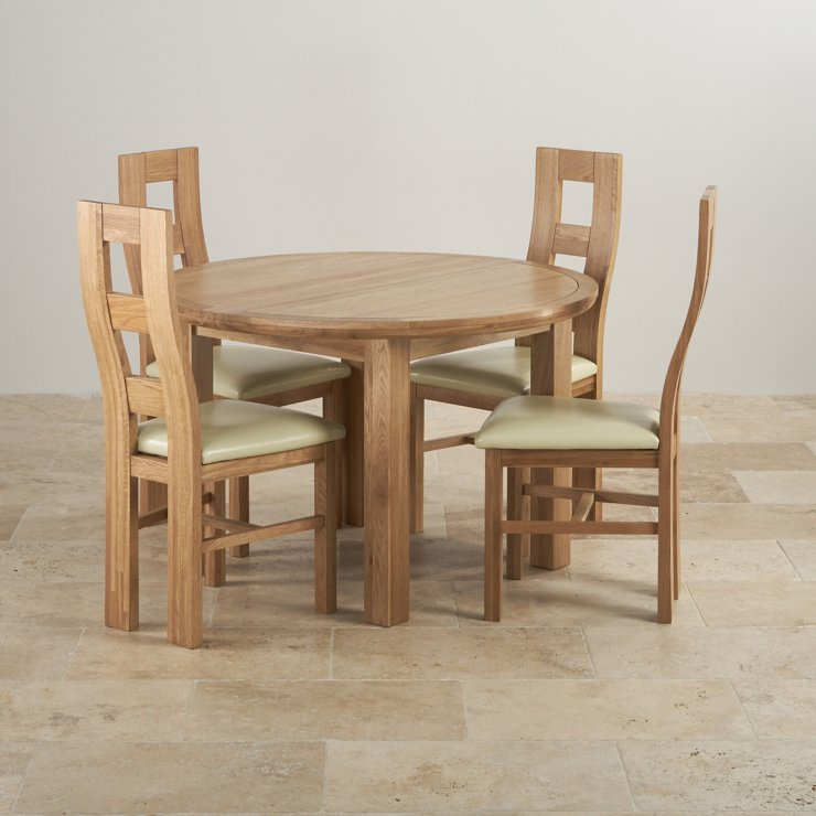 Knightsbridge Natural Oak Dining Set - 4ft Round Extending Table with 4 Wave Back and Cream Leather Chairs