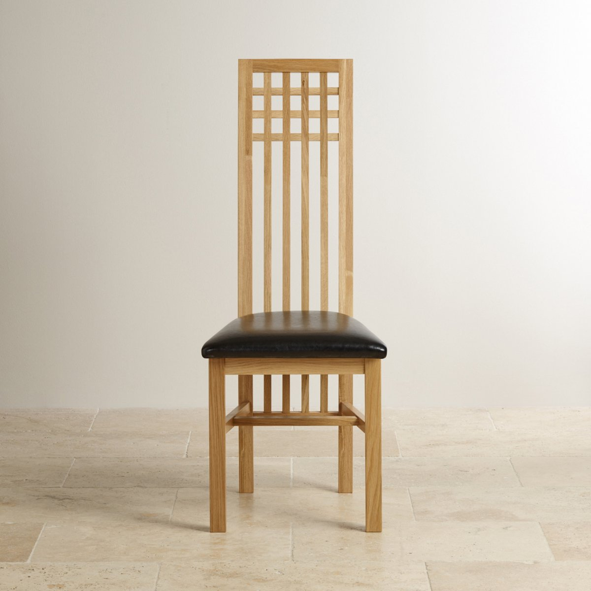 Lattice Back Natural Solid Oak Dining Chair Black Leather