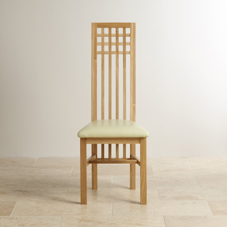 Lattice Back Natural Solid Oak and Cream Leather Dining Chair