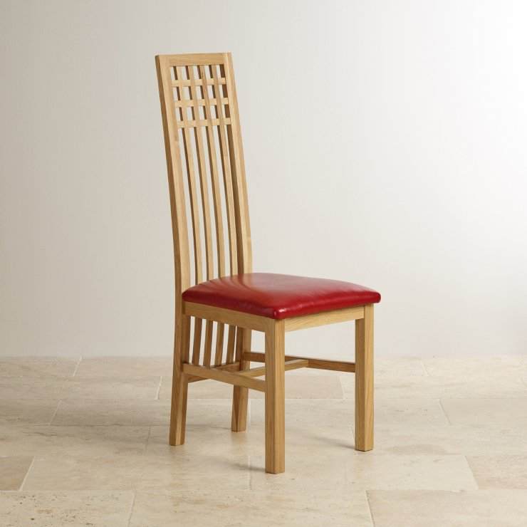 Lattice Back Natural Solid Oak and Red Leather Dining Chair